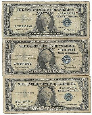 100% Old 1935-57 US BLUE SEAL Silver Certificate USA Dollar Bill Collection Lot