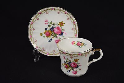 Springfield Cup & Saucer bone china fluted Made in England floral