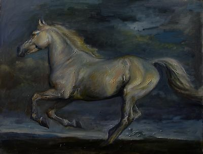 ORIGINAL OIL PAINTING of a GREY HORSE.......WHITE HORSE