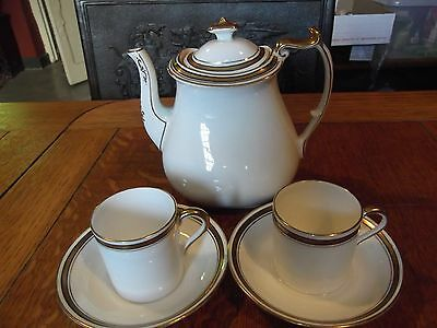 Paragon China White & Gold - Coffee / Tea Pot and 2 Coffee Cans with Saucers