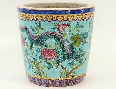 Vintage Signed Chinese Famille  Rose Porcelain Jardiniere W/ Dragons