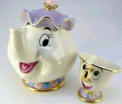 Tea Pot Cup Set Disney Beauty And The Beast Mrs Potts Chip Ceramic Ornament New