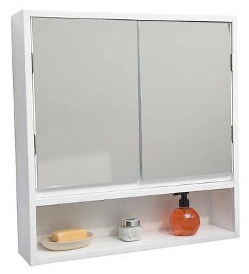 Wall Mounted Mirrored Medicine Cabinet Montreal White 2 Doors,1 Shelf