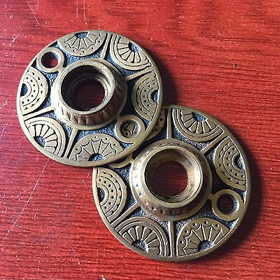 ANTIQUE VINTAGE Pair Of BRONZE RUSSELL AND ERWIN ORNATE DOOR KNOB ROSETTE