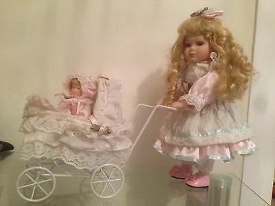 Porcelain Doll Leonardo Collection Mother And Baby With Metal Pram In Pink