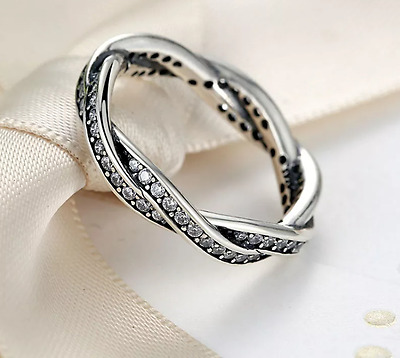 New Silver Plated Luxury Braided Pave Twist of Fate crystal Stone Ring Uk Seller