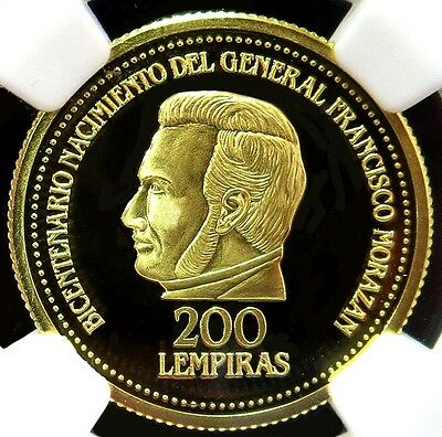 1992 Gold Honduras 200 Lempiras Francisco Morazan Coin Ngc Proof 69 Ultra Cameo