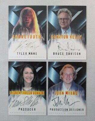 Lot Of 4 X-Men Movie Authentic Autograph Cards Tyler Mane Bruce Davision+ Topps