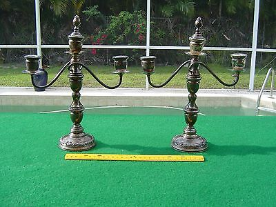 Pair of Vintage Weighted 950 Silver Candelabra Candlesticks