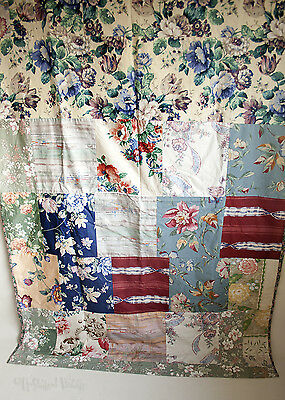 Vintage Homemade Sanderson Fabric Patchwork Cotton Door Curtain - FREE UK P&P
