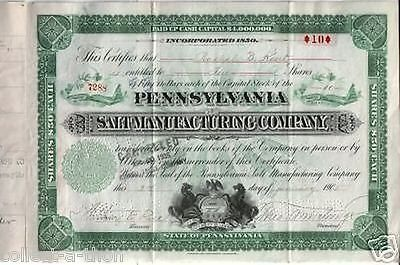 LOT of 10 RARE ORNATE 1920's PENNSYLVANIA SALT STOCKS @ 1.49 Retail Value $40 Ea