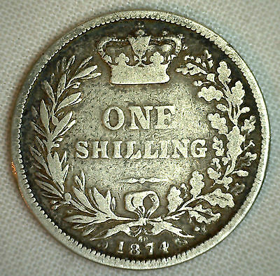 1874 Great Britain Shilling KM#734.2 Silver World Coin UK England Very Good #P