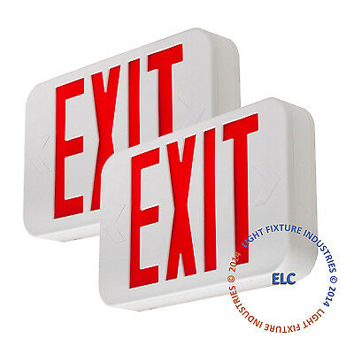 2Pack Red LED Emergency Exit Light Sign - Modern Battery Backup UL924 - LEDRBBJR