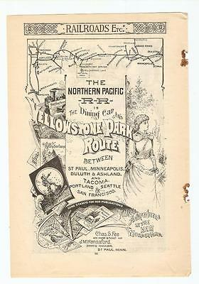 Original 1889 FULL PAGE Print Ad / Northern Pacific RR - Yellowstone Park