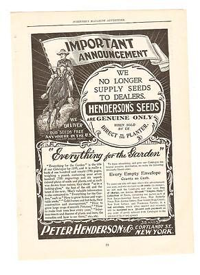 Antique Original 1899 FULL PAGE Print Ad - HENDERSON'S Seed - Peter - NEW YORK