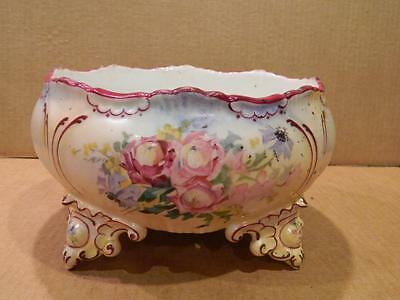 Limoges Large Round Hand Painted Serving Bowl Pink Roses Burgundy Trim Antique