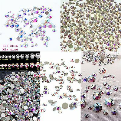 NAIL ART pack of 100 SWAROVSKI CRYSTALS in Mixed Sizes - CLEAR AB - Flatback