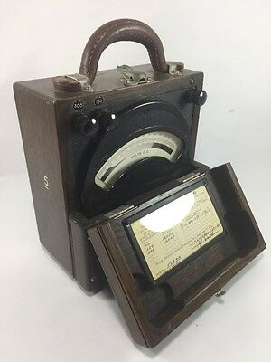 Antique Weston Electrical Instrument Corp. D.C. Voltmeter Model 45 Oak Wood Case