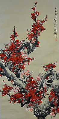 Vintage Chinese Watercolor Flower Wall Hanging Scroll Painting