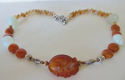 Vintage Chinese Hand Carved Carnelian Jade Rabbit Pendant Necklace