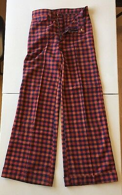 Vintage Original Bell Bottom Women's Pants Red Blue Pleated Checkered