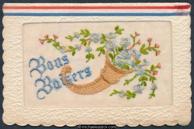 WWI Embroidered Silk greeting card.