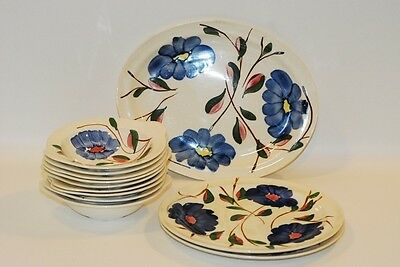 11 Pc Blue Ridge Fluffy Ruffles Souther Potteries CHINA SET Blue Floral