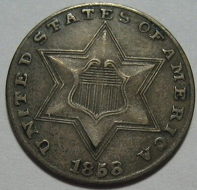 = 1858 XF+ THREE Cent Piece, RPD Repunched 8 in Date, FREE Shipping