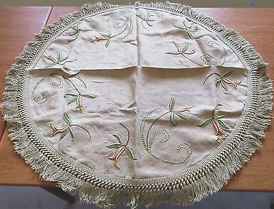 """Antique Hand Embroidered Tablecloth Art Nouveau Arts and Crafts 36"""" Table Cover"""