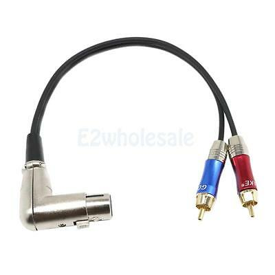 90° XLR Female to 2 Dual RCA Male Cable for Amplifier Mixing Console Speaker