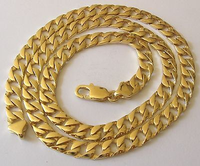 GENUINE SOLID 9K 9ct YELLOW Gold UNISEX FLAT CURB CHAIN NECKLACE  55 cm