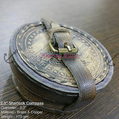 Pirates Compass Poem Compass Pocket Compass  W/LEATHER CASE Brass Compass