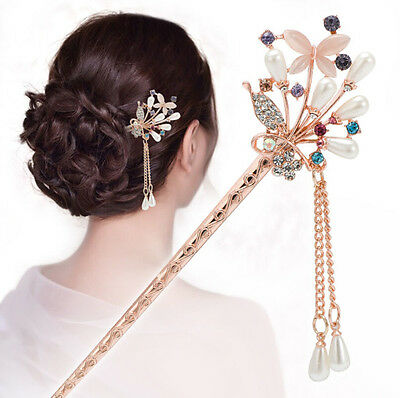 Lots Chinese Style Rhinestone Hair Chopsticks Hair Stick Hairpin Chignon Pin