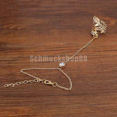 Fashion Armband Hand Link Kette mit Finger Ring Slave Chain Gold
