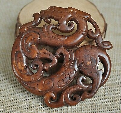 Chinese old natural jade hand-carved ~ Dragon  M01