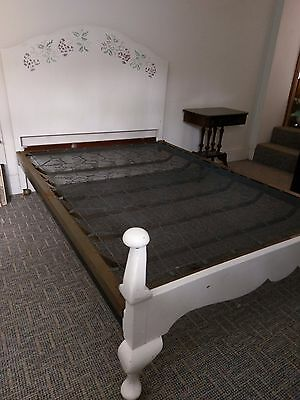 pretty painted antique double bed frame