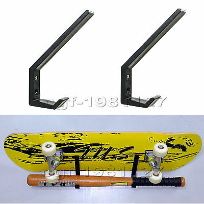 2 × Multi-function Black /Skateboard / Headset / Plastic Wall Mount Rack Storage