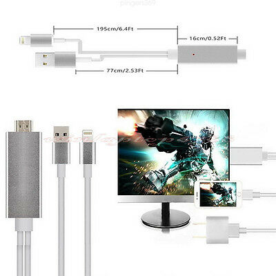 Plug&Play 8 Pin Lightning 1080p HDMI HDTV AV TV Cable Adapter Fr iPhone iPad 2M