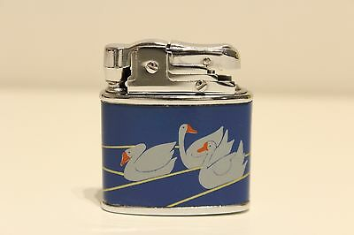 Vintage Nice Tin And Chromed China  Benzin Petrol Cigar Lighter With  Swans