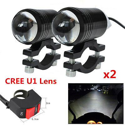 2x CREE U1 Lens LED Motorcycle Headlight Driving Fog Light Spot Lamp For Harley