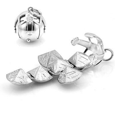 Large Size Solid Silver Masonic Orb (Fob Ball Cross Pendant)