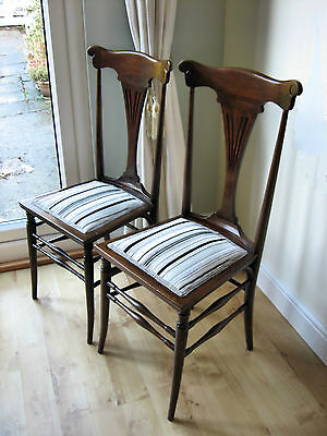Pair Genuine Antique Edwardian Arts and Crafts Nouveau hall occasional Chairs