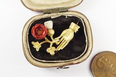 RARE ANTIQUE ENGLISH ACT OF UNION HAND CROWN ROSE & THISTLE BROOCH c1700's