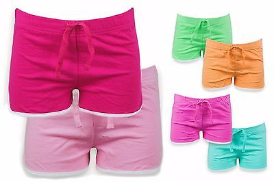 2 Pack Girls Shorts Choice Of Colours Ex-Chainstore Cotton Summer Sport Age 2-10