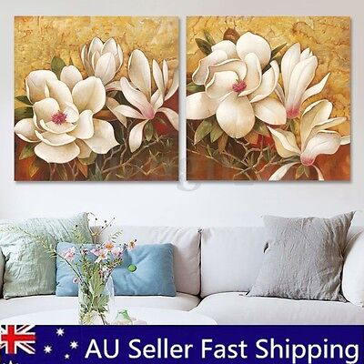 2pcs Framed Flowers Modern Canvas Print Painting Pictures Home Art Wall Decor