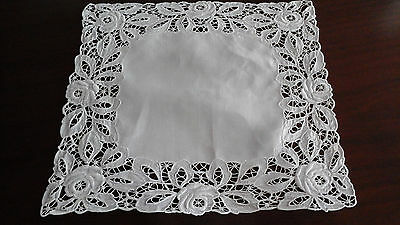 Vintage tray cloth with handworked edging 17.5 x 17 inches