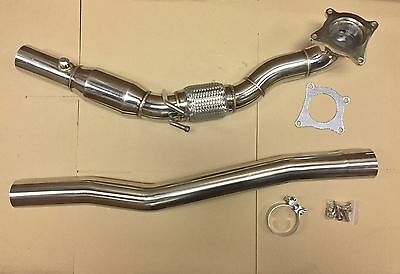 "Downpipe VW Golf 6R Audi TTS & S3 8P / High Flow 76mm 3"" Hosenrohr Sport Auspuff"