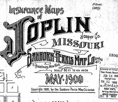 Joplin, Missouri~Sanborn Map© sheets ~made in 1888 and 1900 on CD~46 maps