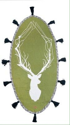 Moss Green French Linen Bed Throw Oval Deer