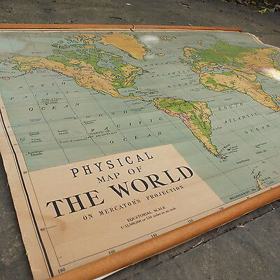 vintage antique pre war ex RAF roll down pull school map of the world canvas